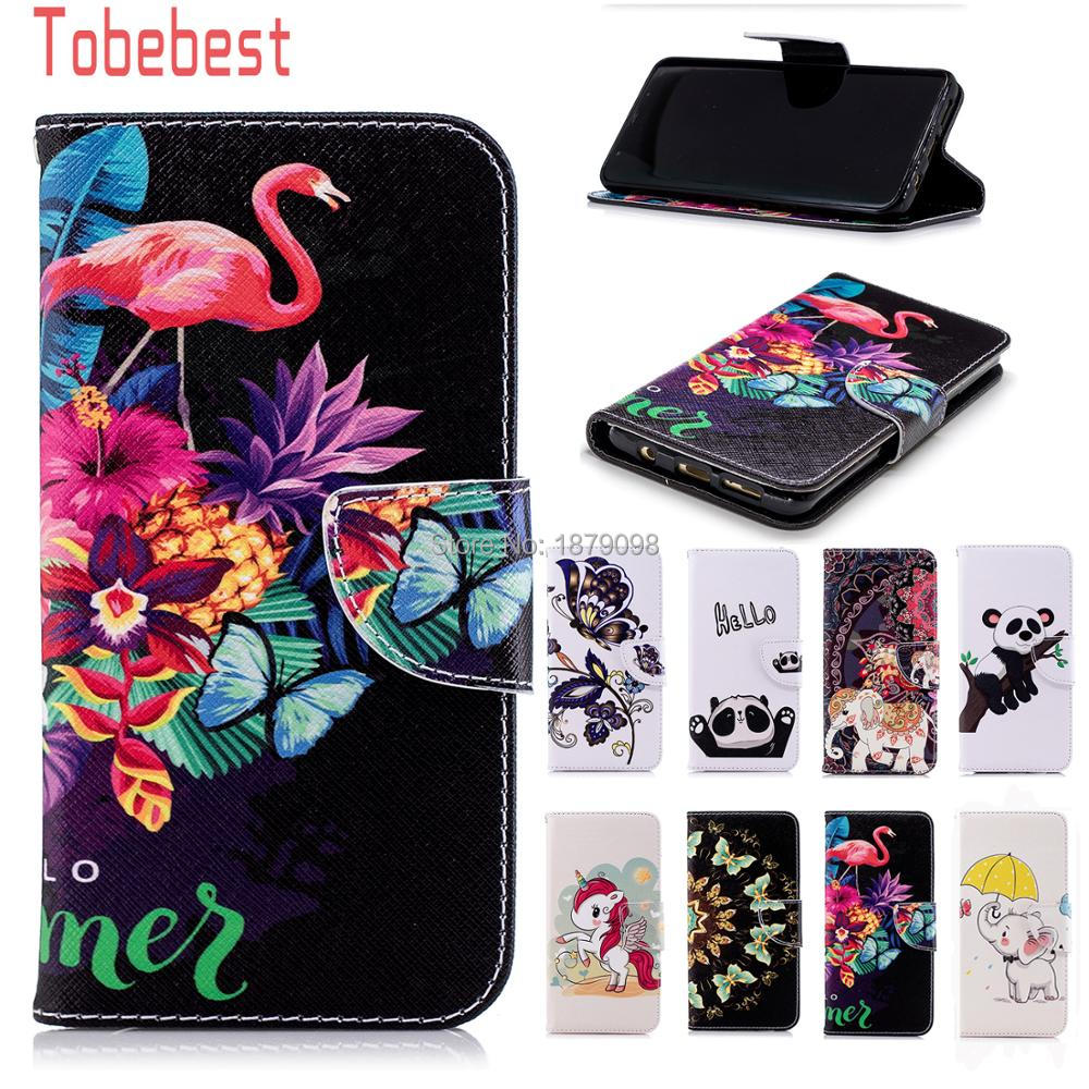 For Samsung Galaxy S9 Plus PU leather Case Unicorn Panda Elephant Flamingos Butterfly Flip Wallet Cover for Samsung Galaxy S9