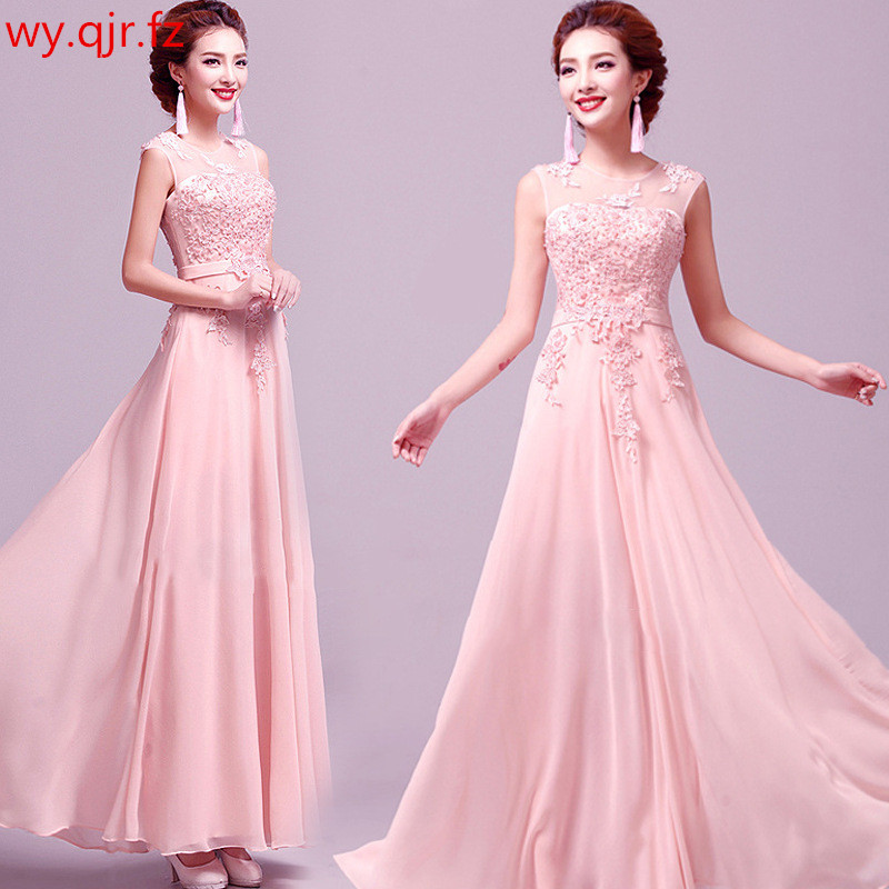 HJZY115F#Beading and embroidery Pink blue   Evening     Dresses   black Long party   dress   prom gown wholesale cheap women's clothing