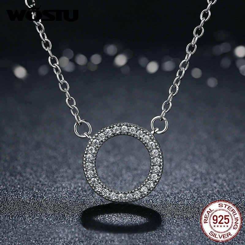 2019 estilo quente 100% real 925 prata esterlina círculo sorte romântico pingente colares para mulher esterlina-prata-jóias crn010