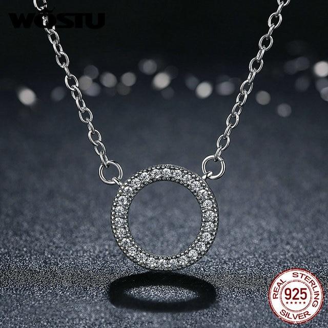 Caldo 2018 di Stile 100% Reale 925 Sterling Silver Fortunato Cerchio Romantico Collane con pendente Per Le Donne Sterling-Argento-Gioielli CRN010