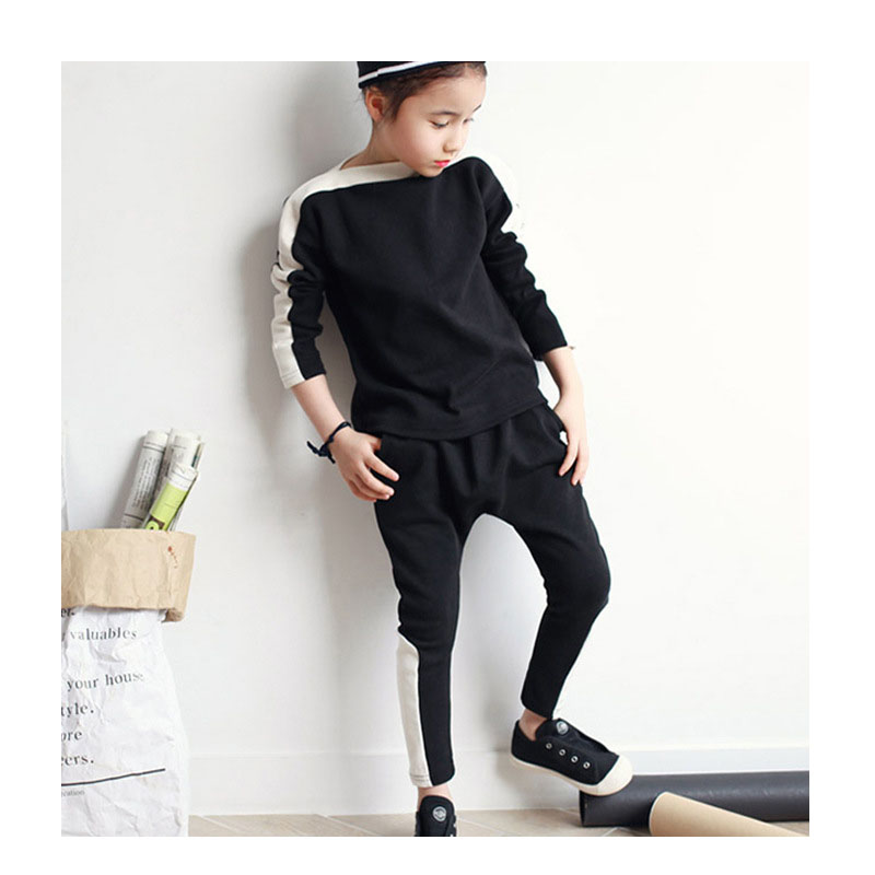 girls autumn children clothing sets tracksuits kids 2pcs sports girls clothes suits black sweatshirts tops long pants girls sets