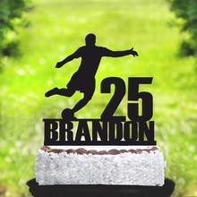 Персональное имя и возраст футбол с днем рождения верхушка для торта, Спорт тема торт украшения торта поставки