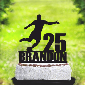 Personalized Name and Age Football Happy Birthday Party Cake Topper, Sport Theme Cake Topper Decorations Supplies(China)