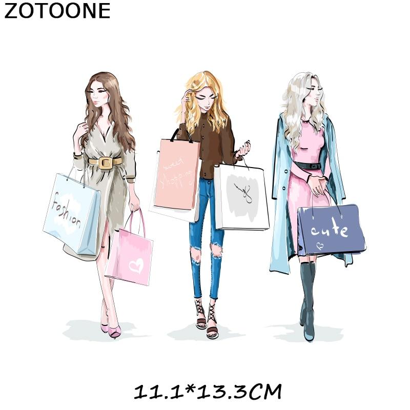 """ZOTOONE железные нашивки на одежду Diy полоски 3D аппликация """"Девочка"""" теплопередача для украшения из ткани наклейки для детей G - Цвет: 236"""