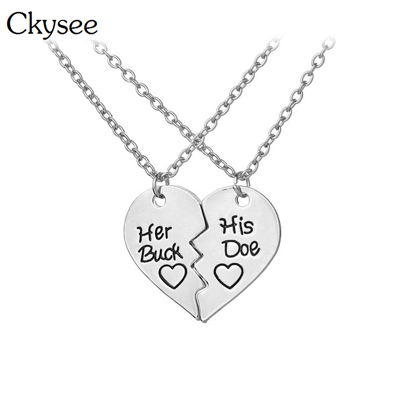 Ckysee 2Pcs/set Love Kissing Heart Pendant Necklace For Women Deer Hunting Her Buck His Doe Couple Necklace Lover Gifts Jewelry