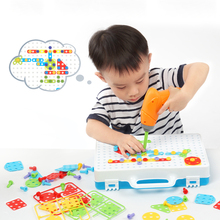 3D Block Kids Electric Drill Toys DIY Screw Group Tool Assembled Blocks Sets Disassembly Match Educational Building Toy