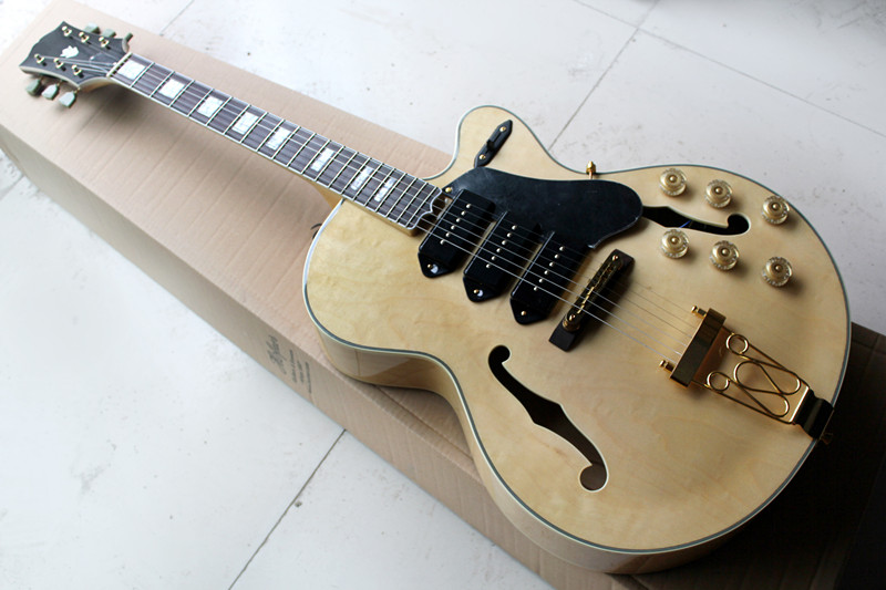 Factory Custom Hollow Body Natural Wood Color 20 Frets Electric