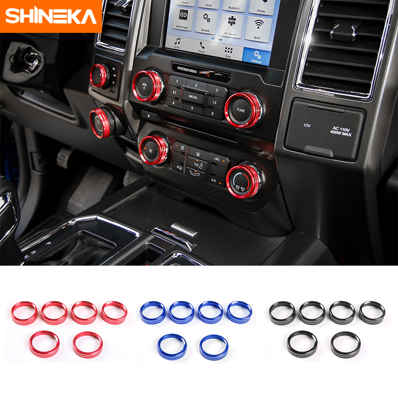 SHINEKA Air Conditioner Audio 4WD Drive Trailer Switch Knobs Button Decorative Covers Ring Trims for Ford