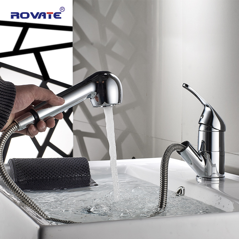 Rovate Bathroom Basin Faucet Pull Out Head Deck Mounted Sink Tap Cold And Hot Water Mixer Br Chrome
