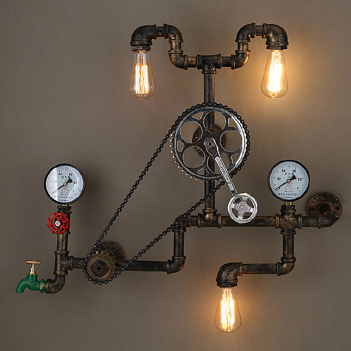 Loft Retro Industrial Wheel Bearing Bike Vintage Wall lamp Loft Light Edison Water Pipe Wall Light Bar Cafe Store Coffee Shop