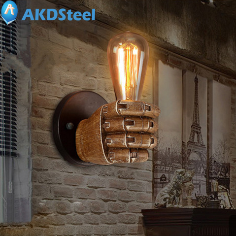 AKDSteel Retro Creative Fist Shape Wall Lamp E27 Lamp Holder Fixtures Industrial Style Personality Loft Industrial