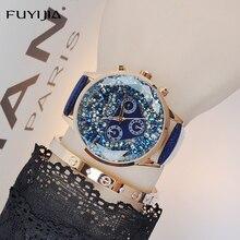 Новый FUYIJIA часы женские Роскошные Кварцевые часы дамы ремень часы-браслет Лидирующий бренд многофункциональный водонепроницаемый леди платье часы