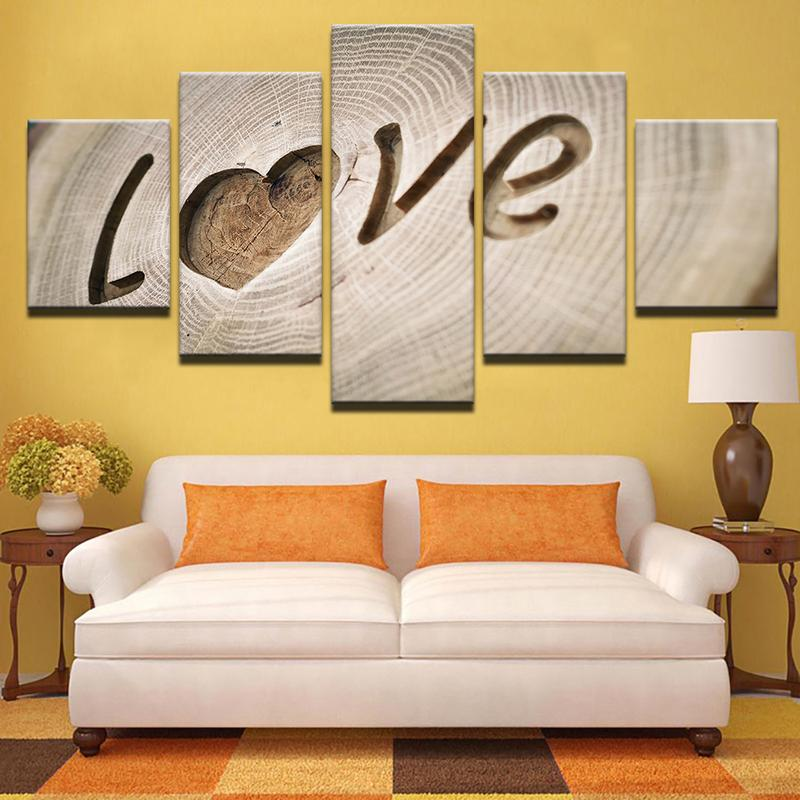 Details About Wooden Romantic Love Plank Art 5 Pcs Canvas Wall Art Print Picture Home Decor