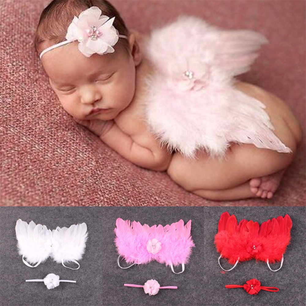 Baby Infant Elastic Leaves Headband+Feather Angel Wing Costume Photograph Props