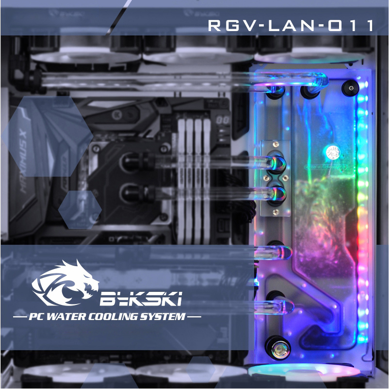 Bykski RGV-LAN-O11, Waterway Boards Kit For Lian Li PC-O11 Dynamic Case, RBW Waterway Board CPU/GPU Water Block Program Kit