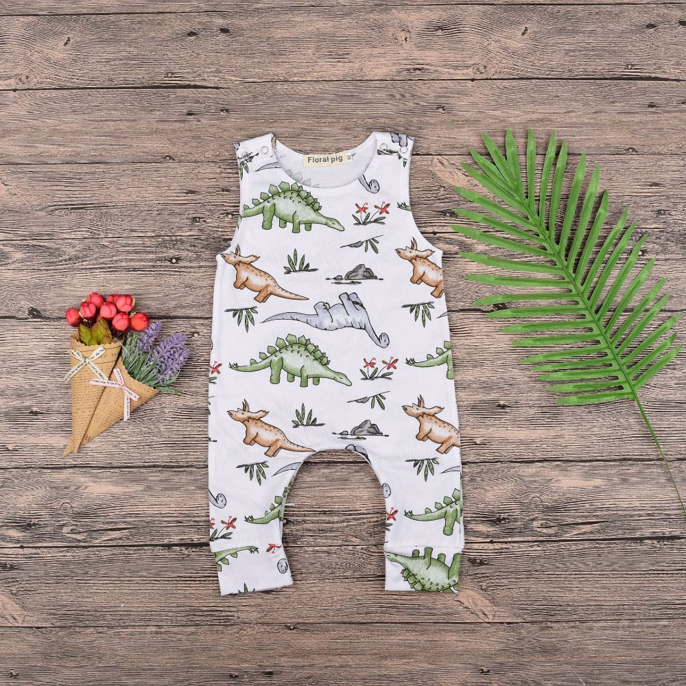 2018 White Kid Toddler Girls Romper Cotton Baby Floral Romper Dinosaur Party Playsuit Clothing 3-18M Summer Toddler Newborn Boys
