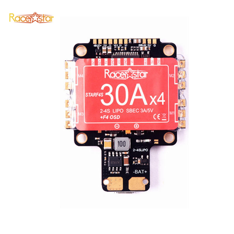 Original Racerstar StarF4S 30A Blheli_S Dshot 4 in 1 ESC AIO F4 OSD Flight Controller w/ BEC Current Sensor For RC Quadcopter original racerstar tattoof4s 30a blheli