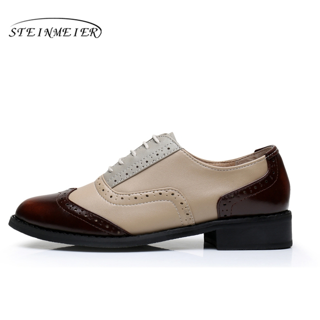 Genuine Leather Big shoes US Size 11 Designer Vintage flat Shoes Round Toe Handmade White 2017 sping Oxford Shoes For Women Fur