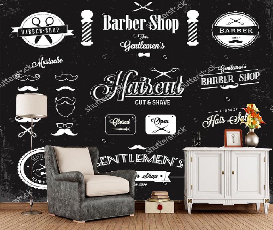 Custom Barber Wallpaper,barber Shop Labels And Icons,3D Modern For Living Room Sofa Background Papel De Parede PVC