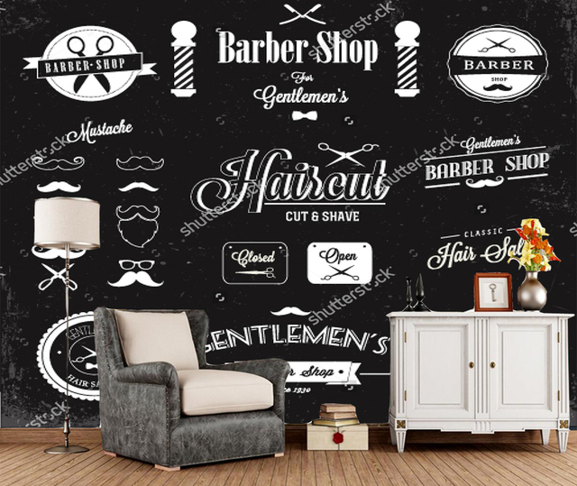 Custom Barber Wallpaper Barber Shop Labels And Icons 3d