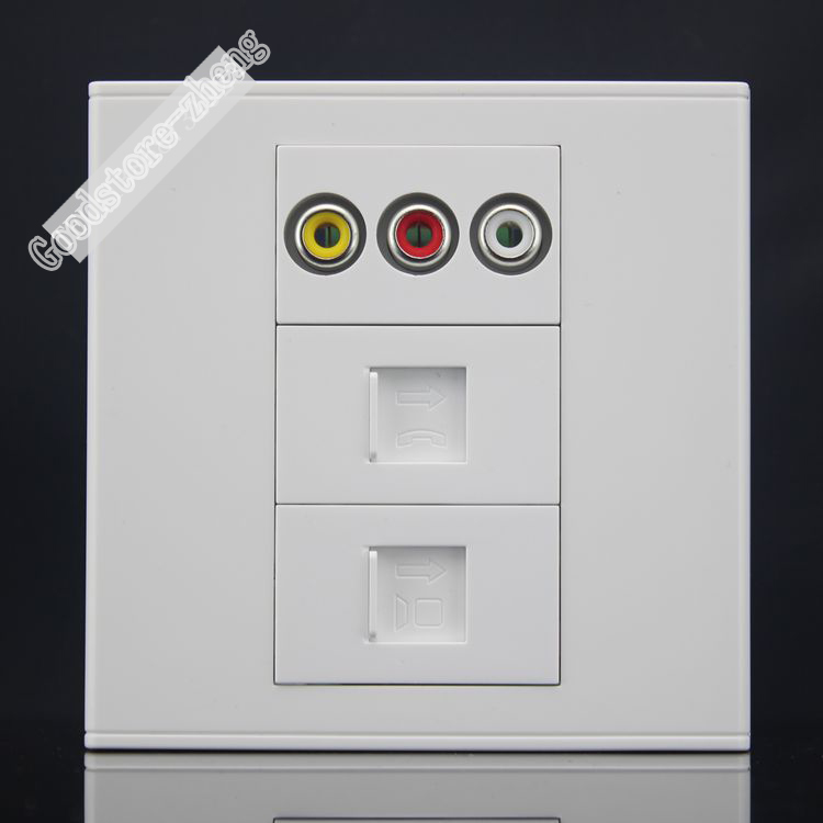 Wall Socket Plate 3 Ports Dual Network RJ45 CAT5e LAN & 3RCA AV Socket Panel Faceplate Outlet Adapter 86*86mm Wholesale Lots