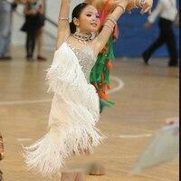 Łacińskiej sukienka do tańca dla dzieci sukienki dla dziewczynek białe frędzle Fringe Cha Cha Flamengo Tango Salsa sukienka konkurencyjna sukienka do tańca BL03 w Latynoskie od Elementy błyszczące i specjalne zastosowania na