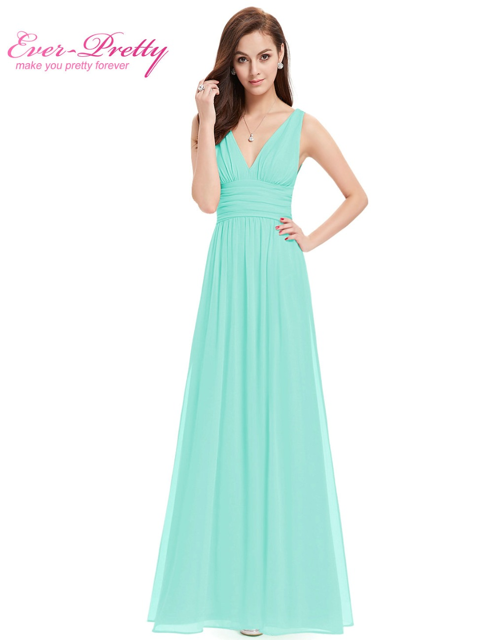 Free Shipping HE09016 2013 Ever Pretty Green Double V Elegant Evening Dress New Fashion