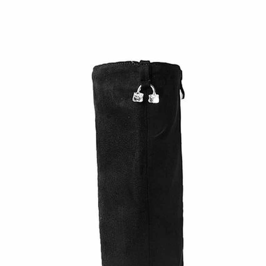 QUTAA สีดำ PU หนัง + ขัด 2020 ส้นสูงเข่ารองเท้าบูทสูงรองเท้า Elegant รถจักรยานยนต์รองเท้าลูกไม้ขนาด 34-43