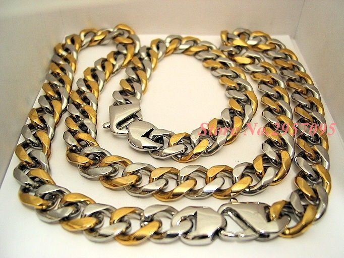 316L Stainless Steel statement Necklace And Bracelet Set Wholesale Gold Color Hip Hop Chunky Big Chain For Men Jewelry Set thick gold chain set wholesale men s jewelry white black crystal buckle necklace bracelet stainless steel jewelry sets