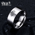 Aço inoxidável anel Game of Thrones Casa Stark de Winterfell lobo gelo homens anel LUO001