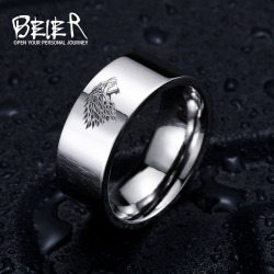 Stainless steel ring game of thrones ice wolf house stark of winterfell men ring luo001.jpg 250x250