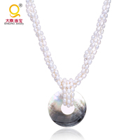 Natural Pearl Necklace With Mother pearl charm pendant Necklace women chunky Jewelry Gift