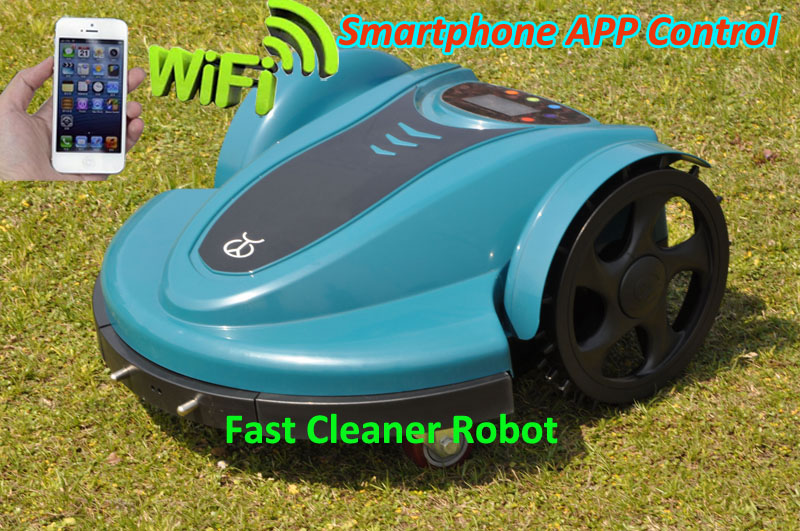 Lawn Mower Robot Garden Tool Machine with updated Smartphone WIFI APP Control+Water-Proofed charger,Cutting Area 1500M2