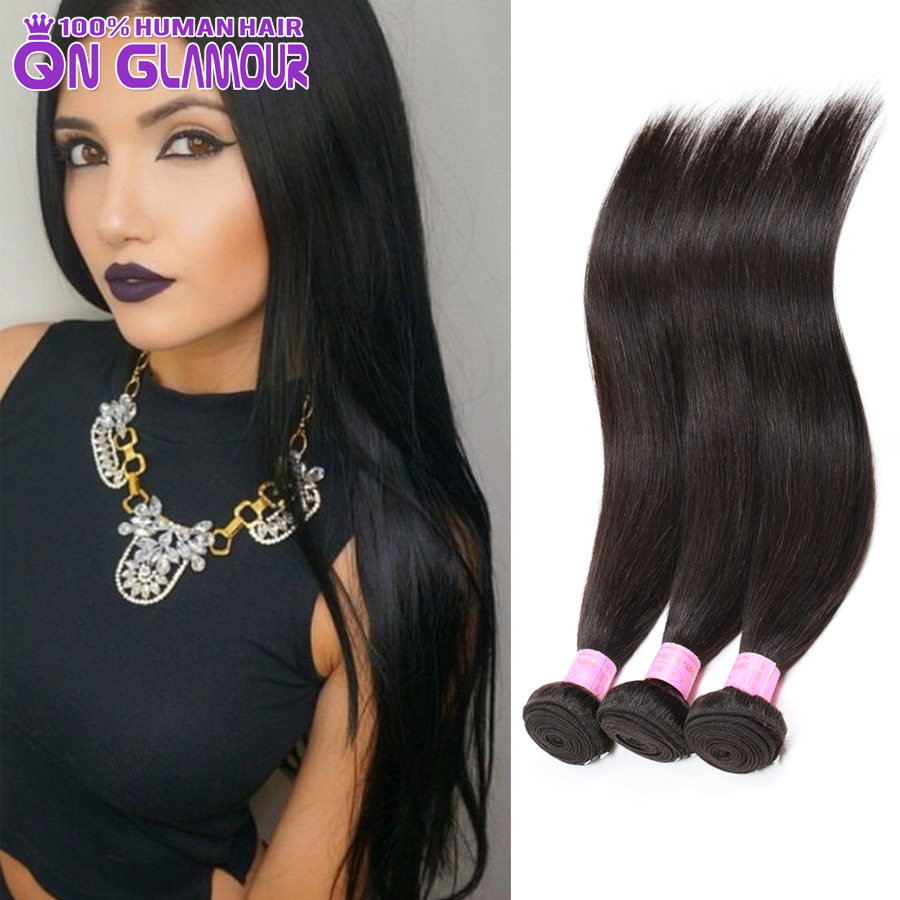 Mink 7a Jet Black Brazilian Straight Hair Weave 4 Bundles Remy Human