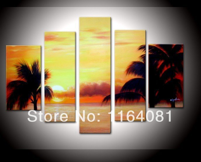 100% Hand painted Cloud coconut palm beach sea landscape Wall home Decor Oil Painting on canvas 5pcs/set no Framed on tha back