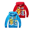 cute kids causal hoodie coat cartoon Pokemon GO Pikachu cotton sweatshirt for 3-10yrs child boys girls outerwear hoody clothes