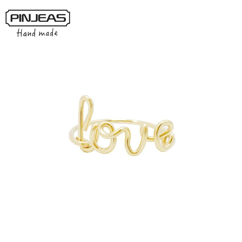 PINJEAS Wire Wrap Amore Anello handmade Sterling Silver Gold Filled FAI DA TE Damigella D'onore madre Fidanzata Regalo Parola Gioielli Unici
