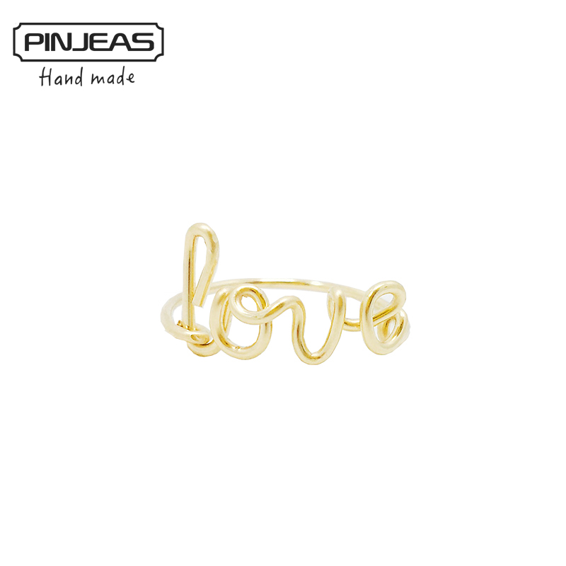 PINJEAS Wire Wrap Love Ring handmade Sterling Silver Gold Filled DIY Bridesmaid Girlfriend mother Gift Word Unique Jewelry