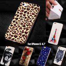 Luxury Back Soft Animal Tiger Owl Silicon Cute Case for iPhone6 Rose Flower Soft TPU Cases