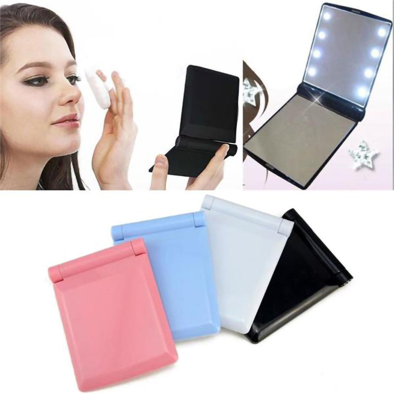 Portable 110*85mm LED Lighted Makeup Mirror with Led Light Illuminated Cosmetic Folding Compact Laser Engraver Mirror with Lamps