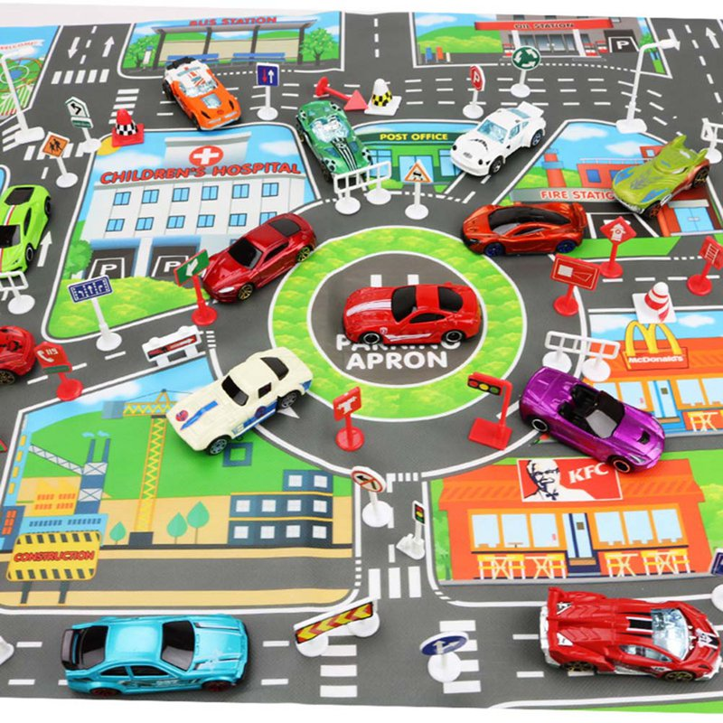 Map 83*58CM City PARKING LOT Roadmap Alloy Toy Model Car Climbing Mats English Version Gifts For Kids Only Have Map
