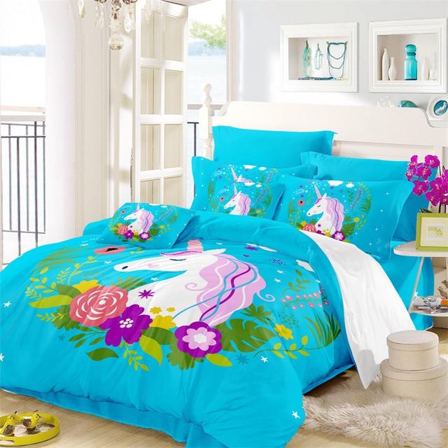 Sky Blue Unicorn Bedding Set