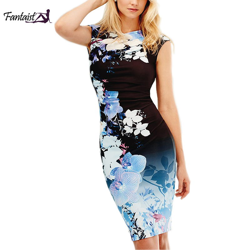 fe164abfda1 Fantaist Women Dress Summer Sleeveless Vintage Office Sheath Floral Print  Knee-Length V-Neck Ladies Bodycon Party Pencil Dress