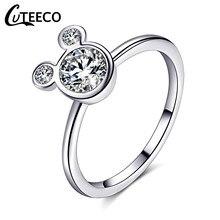 41718736c65f CUTEECO de Color plata Mickey fascinación claro CZ anillos de boda para las  mujeres 2018 Popular anillos Pandora joyería de comp.
