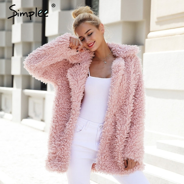 Simplee abrigo cálido de piel sintética para mujer, ropa de calle a la moda, abrigo largo de tallas grandes para mujer, abrigo informal rosa para otoño 2018