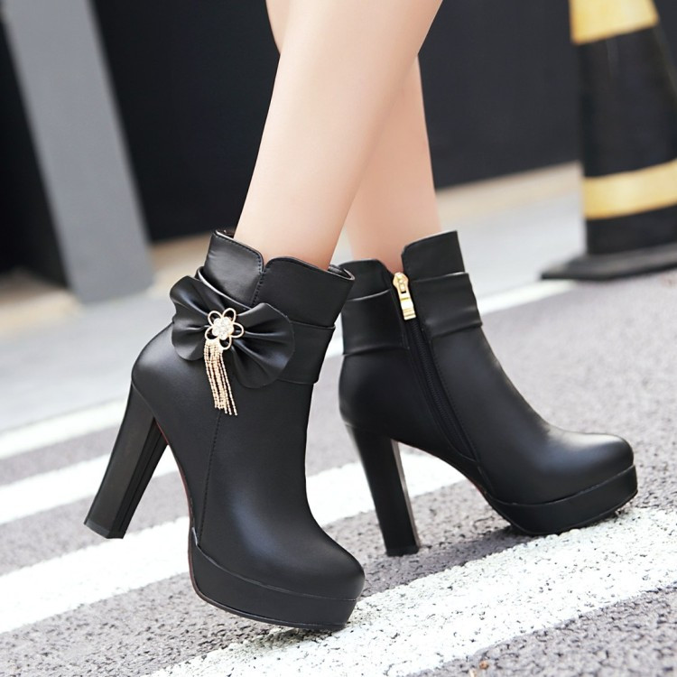 22_2016 Autumn Korean Womens Pink Dress Booties Shoes Princess Bow High Heels Black And White Platform Ankle Boots For Winter