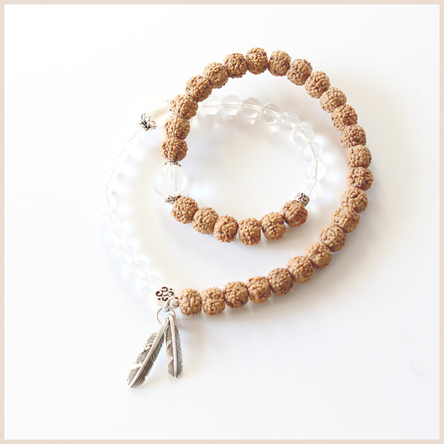 TALE Artisan Design Pure Quartz With Rudraksha Beads S925 Silver Feather Charm Stretch Bracelet For Women Yoga Chakra  Jewelry