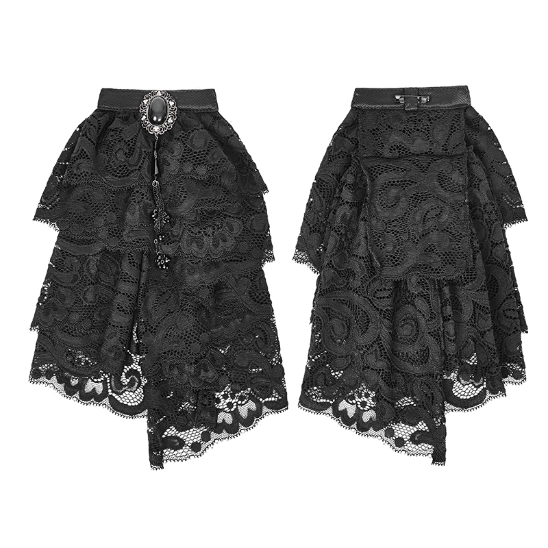 Fashion Gothic Man Shirt Fancy Lace Neckties Victorian Black/White Bow Tie