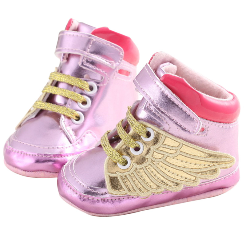 ФОТО lovely pu leather angel wings toddler shoes baby boy girl first walkers infant prewalker crib boots footwear 0-18m