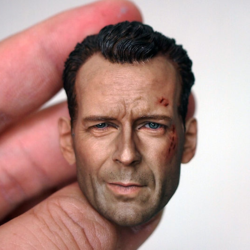 free shipping 1 6 scale male soldier head carving cool male star head sculpt model fit 12 collectible doll toys accessories 1/6 Scale Male Head Sculpt Model Movie Star Bruce Willis Carving Wounded High Quality For 12 inches Action Figure